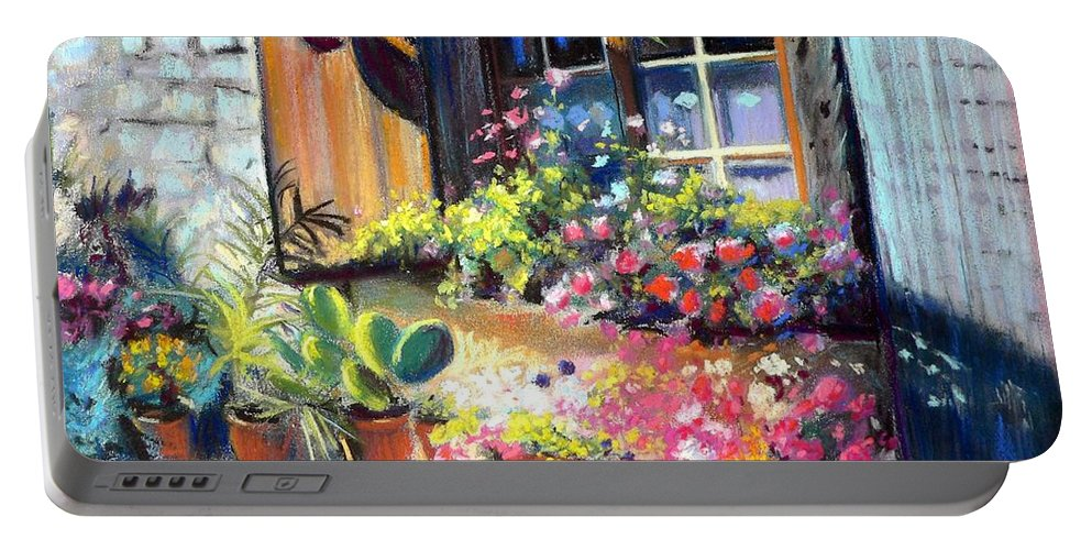 Floral Portable Battery Charger featuring the pastel Flowery Window Of France by Louise Lavallee