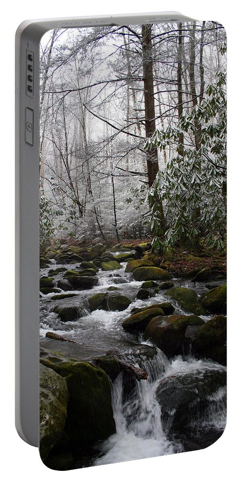 Park Winter Snow White Water Stream Creek Flow River Rock Boulder Tree Green Rush Cold National Portable Battery Charger featuring the photograph Flowing by Andrei Shliakhau