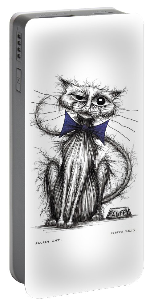 Fuzzy Portable Battery Charger featuring the drawing Fluffy Cat by Keith Mills