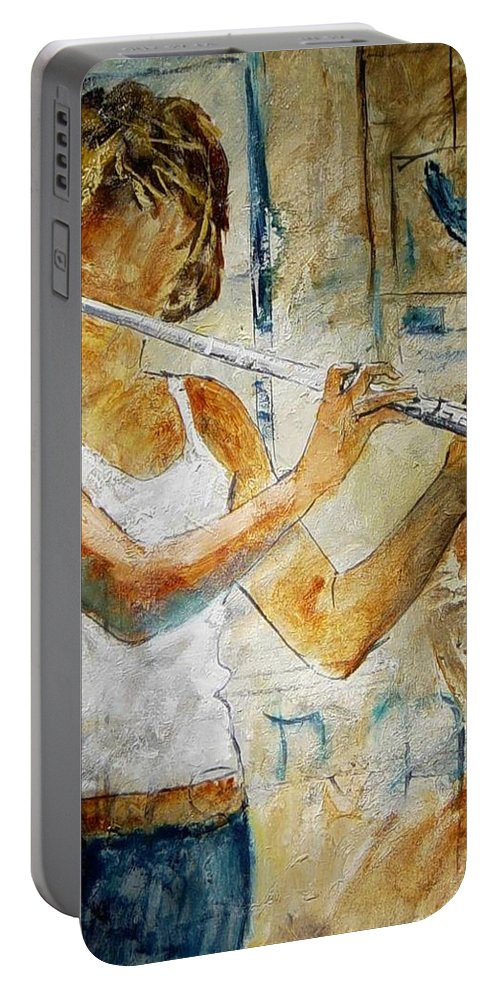 Music Portable Battery Charger featuring the painting Flutist by Pol Ledent