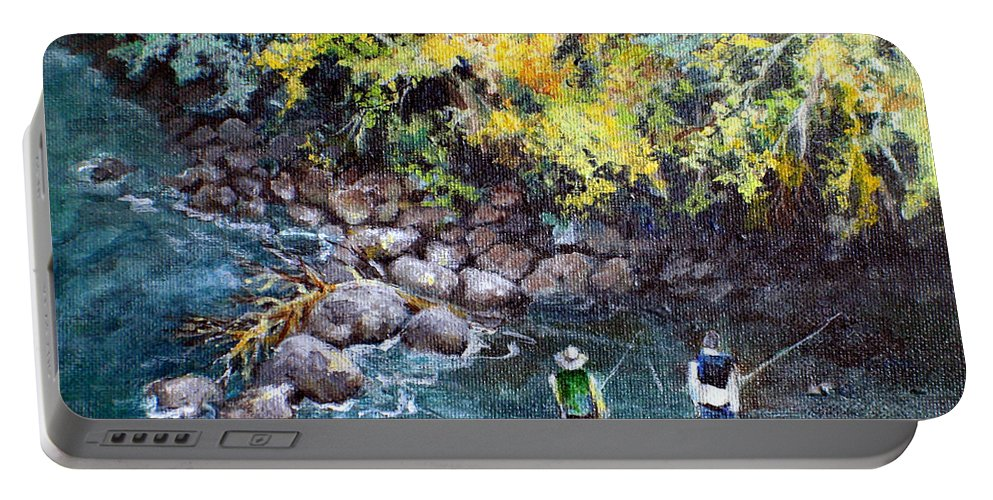 Fishing Portable Battery Charger featuring the painting Fly Fishing by Linda Shackelford