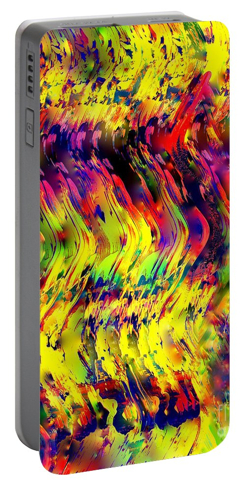 Painting-abstract Acrylic Portable Battery Charger featuring the mixed media Fly High On A Magic Carpet Ride by Catalina Walker