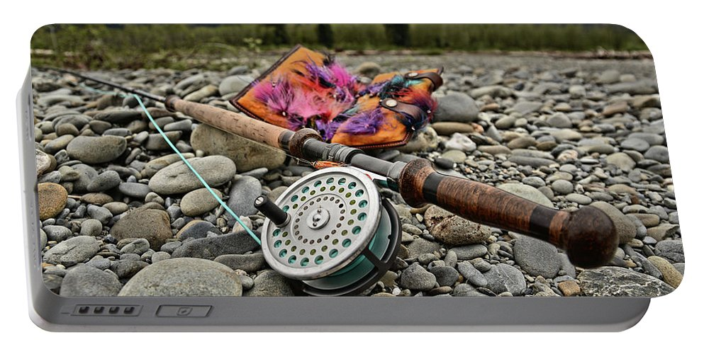Portable Battery Charger featuring the photograph Fly Rod and Streamers landscape by Jason Brooks
