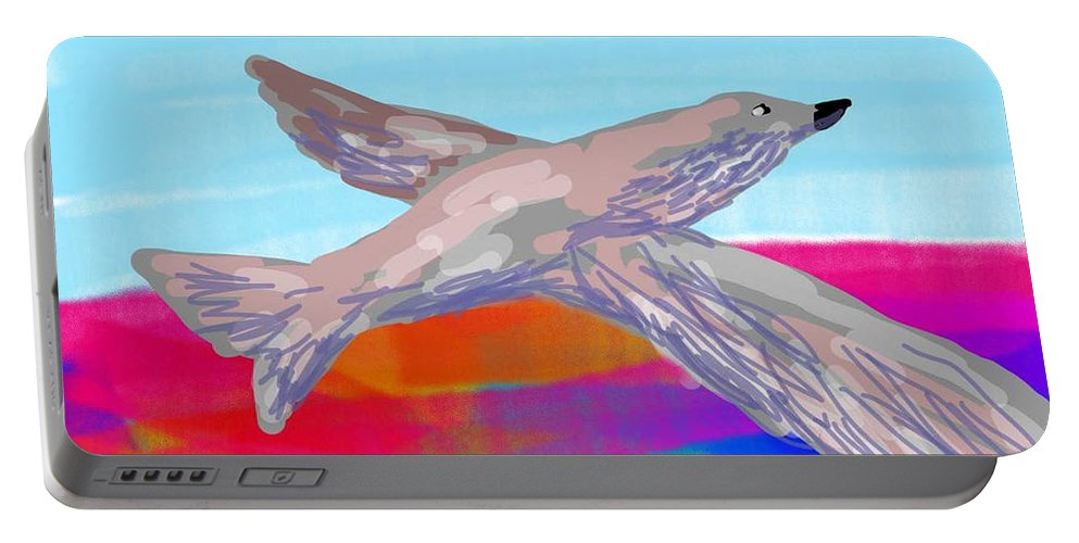 Colors Birds Sky Portable Battery Charger featuring the digital art Flying Bird II by David R Keith