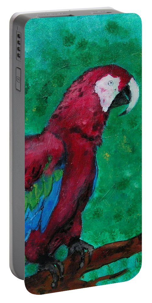 Parrot Portable Battery Charger featuring the painting Flying Colors by Cori Solomon