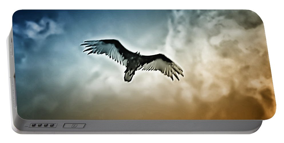 Falcon Portable Battery Charger featuring the photograph Flying Falcon by Bill Cannon