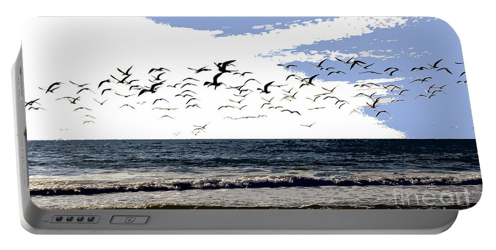 Beach Portable Battery Charger featuring the painting Flying Gulls by David Lee Thompson