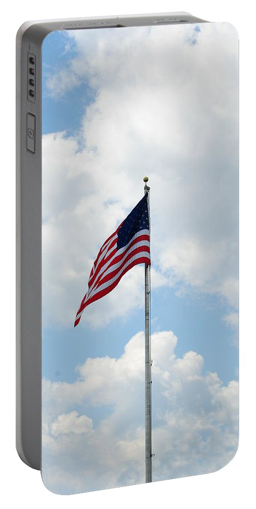 Old Glory Portable Battery Charger featuring the photograph Flying High by Eric Liller