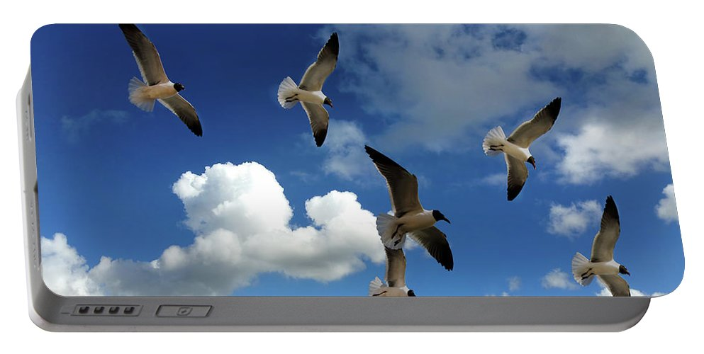 Sky Portable Battery Charger featuring the photograph Flying High In The Clouds by Jennifer Stackpole