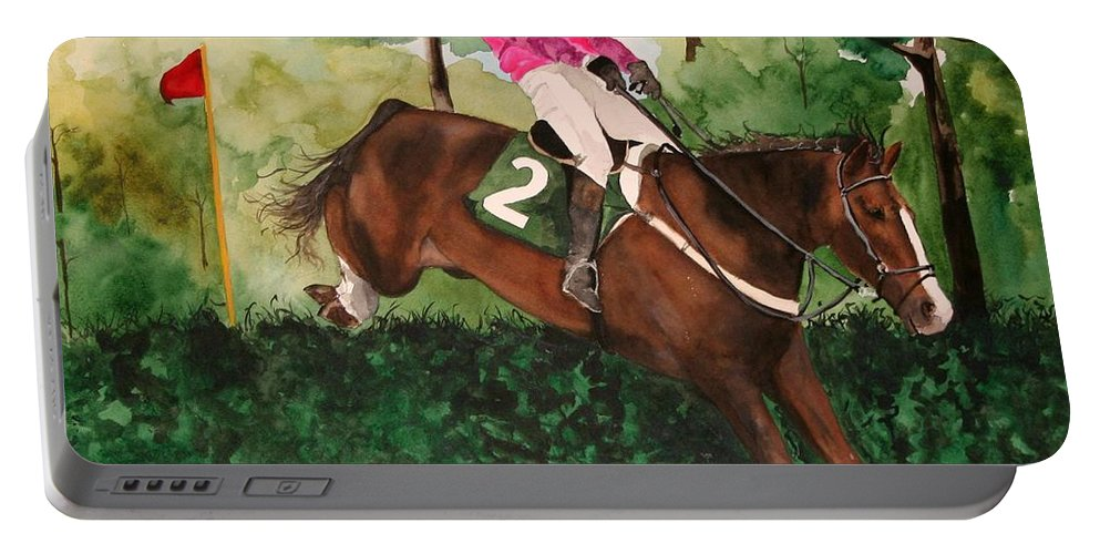 Horse Portable Battery Charger featuring the painting Flying High by Jean Blackmer