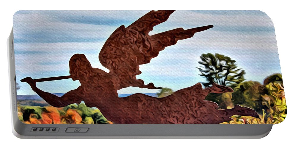 Angel Portable Battery Charger featuring the photograph Flying High by Modern Art