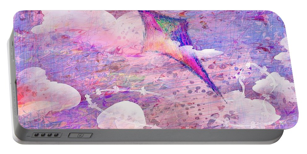 Abstract Portable Battery Charger featuring the digital art Flying High by Rachel Christine Nowicki