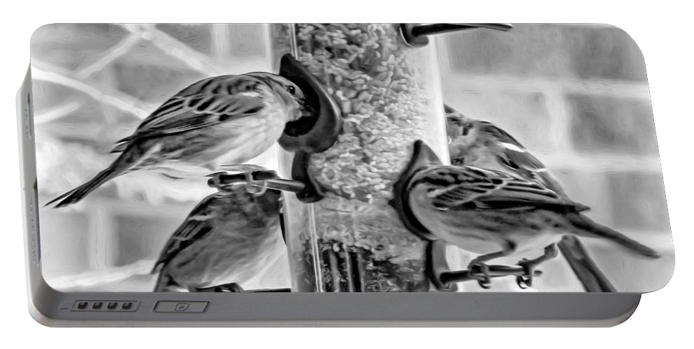 Steve Harrington Portable Battery Charger featuring the photograph Flying Piglets Bw by Steve Harrington