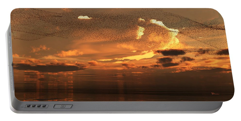 Autumn Portable Battery Charger featuring the digital art Flying To South by Max Steinwald