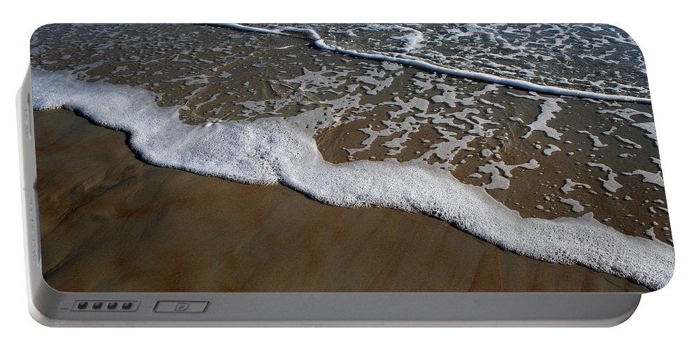 Beach Sand Wave Waves Foam Foamy White Sunny Clear Water Ocean Portable Battery Charger featuring the photograph Foamy Water by Andrei Shliakhau