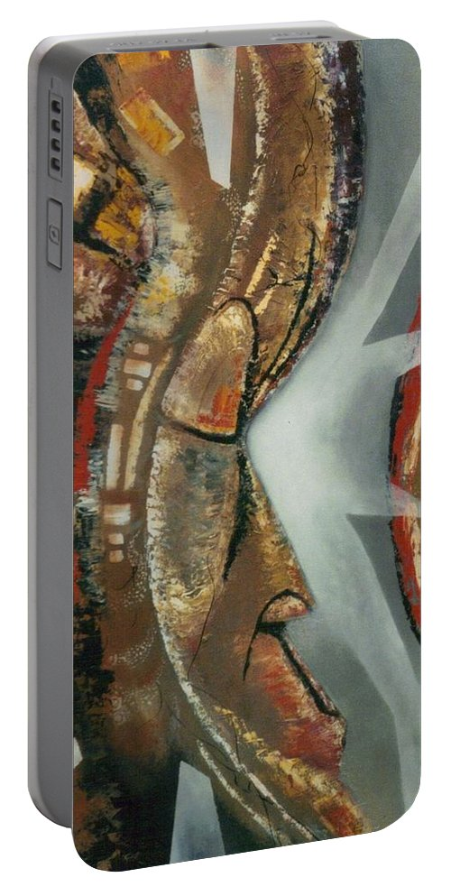 African Mask Portable Battery Charger featuring the painting Focus And Determination by Hasaan Kirkland