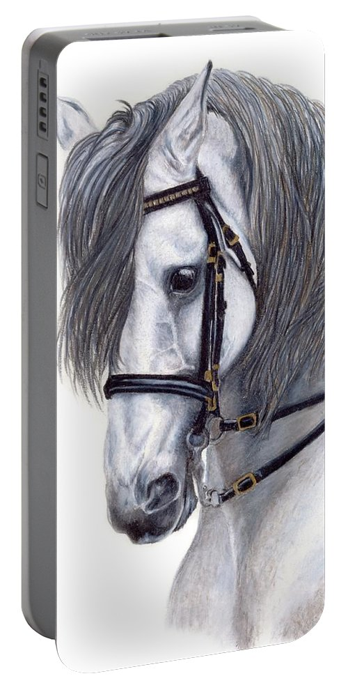 Horse Portable Battery Charger featuring the drawing Focus by Kristen Wesch
