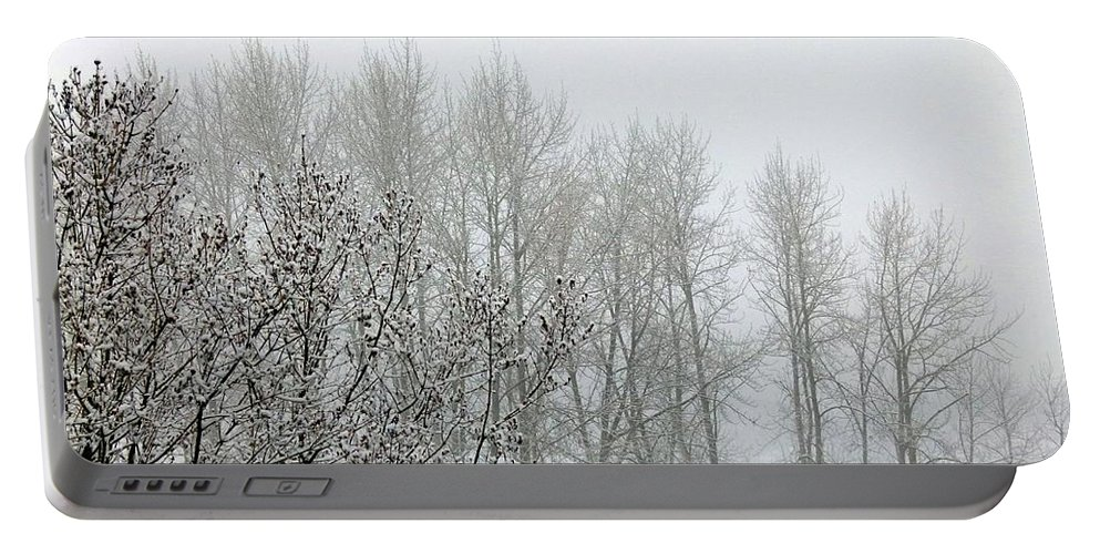 Fog Portable Battery Charger featuring the photograph Fog And Light Snow by Will Borden