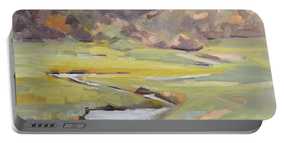 Rmnp Portable Battery Charger featuring the painting Fog Laiden Moraine Park by Cindy Carrillo