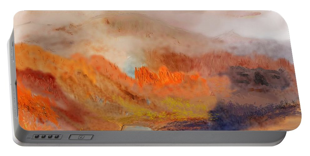 Fine Art Portable Battery Charger featuring the digital art Foggy Autumnal Dream by David Lane