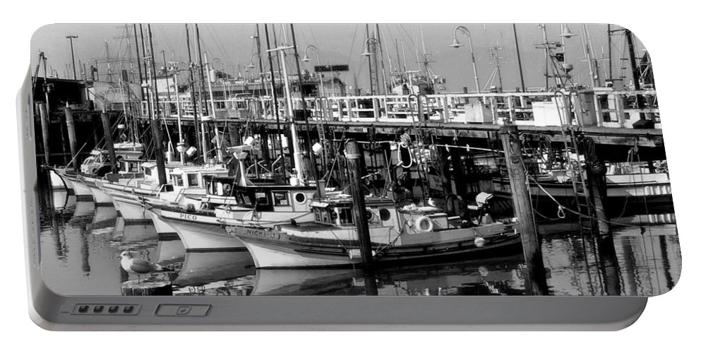 Boats Portable Battery Charger featuring the photograph Foggy Boats by Tom Reynen