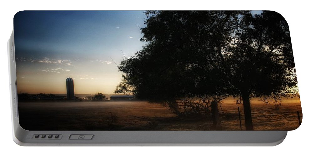 Silo Portable Battery Charger featuring the photograph Foggy Country Morning by Buck Buchanan