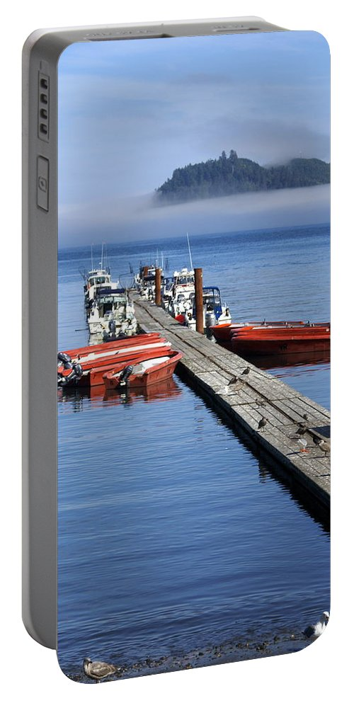 Olympic Portable Battery Charger featuring the photograph Foggy Dock by Marty Koch