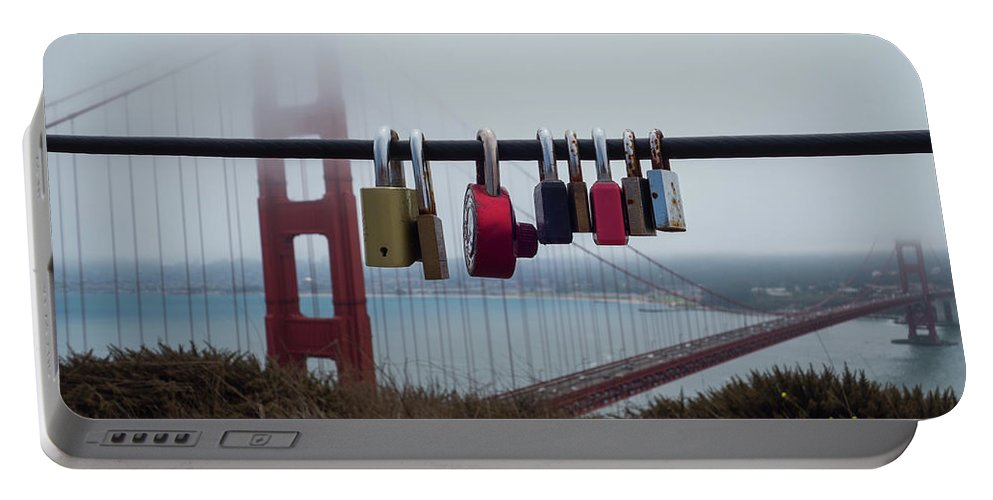 San Francisco Portable Battery Charger featuring the photograph Foggy Golden Gate Bridge Love Locks San Francisco Ca by Toby McGuire