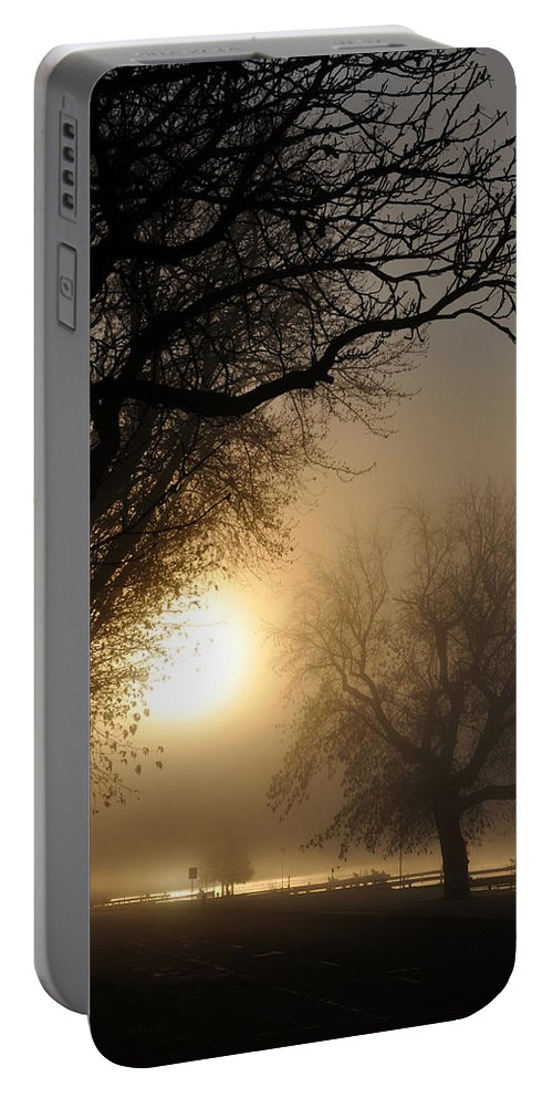Foggy Portable Battery Charger featuring the photograph Foggy Morn by Tim Nyberg
