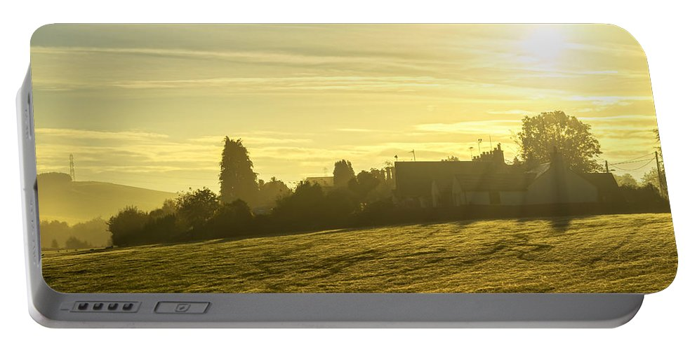 Sony Portable Battery Charger featuring the photograph Foggy Morning Over Kennet Village by Jeremy Lavender Photography