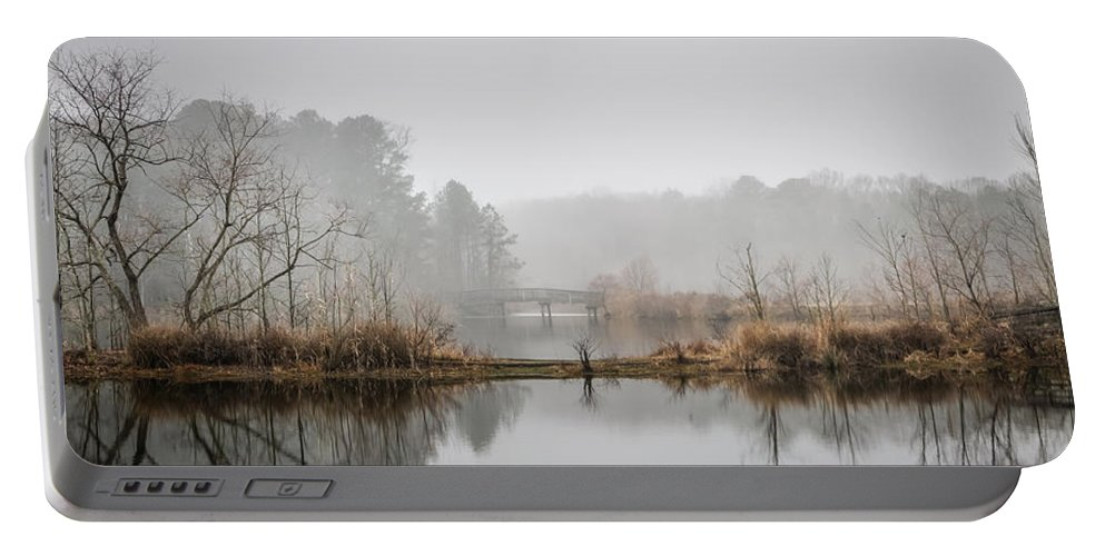 Crystal Lake Portable Battery Charger featuring the photograph Foggy Morning View Of The Bridge by Robert Anastasi
