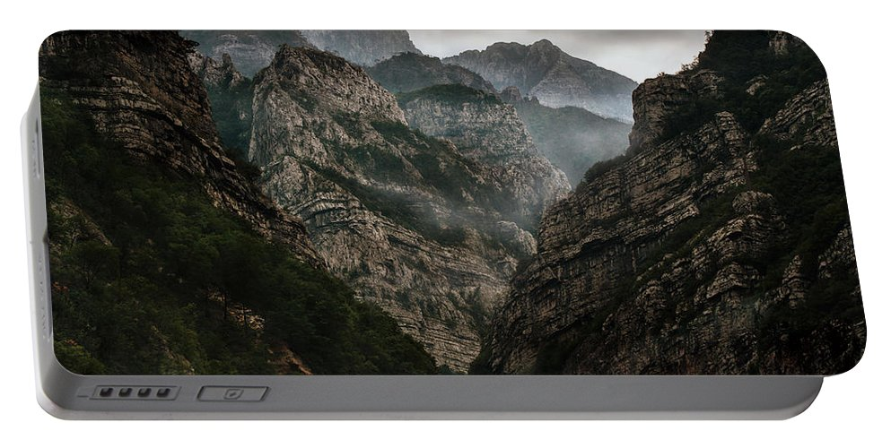 Outdoor Portable Battery Charger featuring the photograph Foggy Mountains Over Neretva Gorge by Jaroslaw Blaminsky