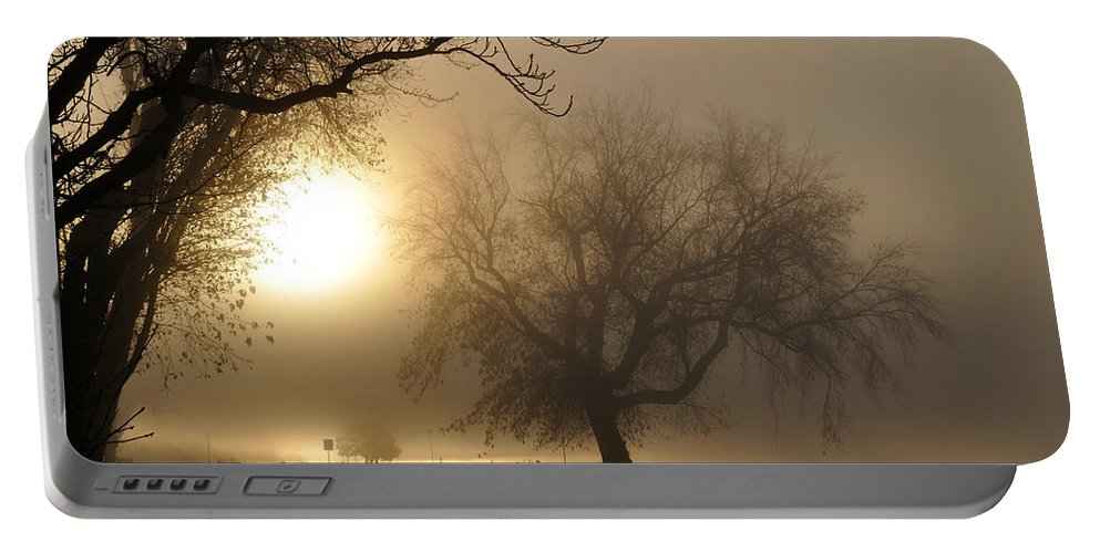 Foggy Portable Battery Charger featuring the photograph Foggy November Sunrise On The Bay by Tim Nyberg