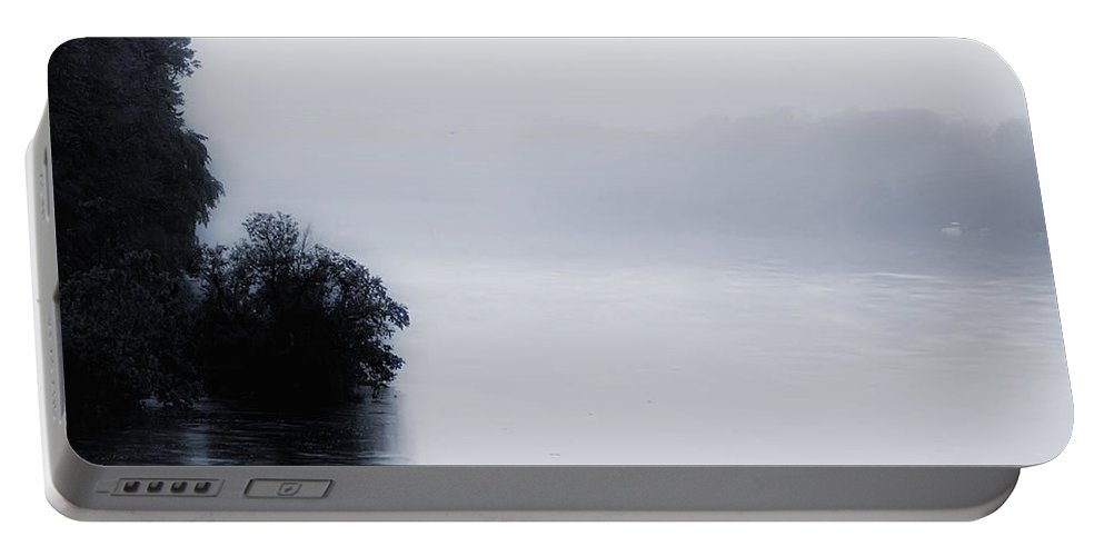 Foggy Portable Battery Charger featuring the photograph Foggy River by Bill Cannon