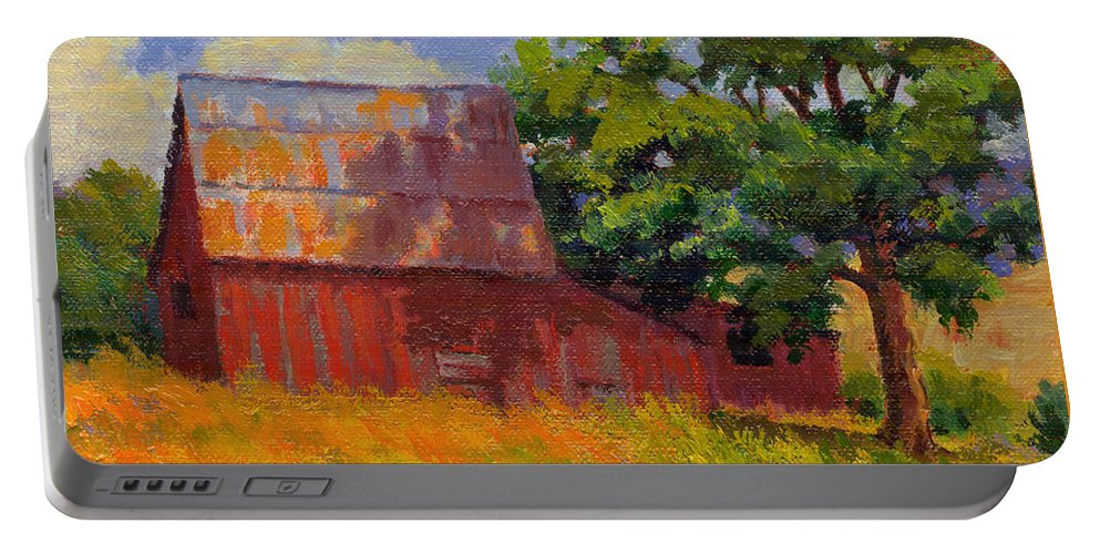 Landscape Portable Battery Charger featuring the painting Foglesong Barn by Keith Burgess