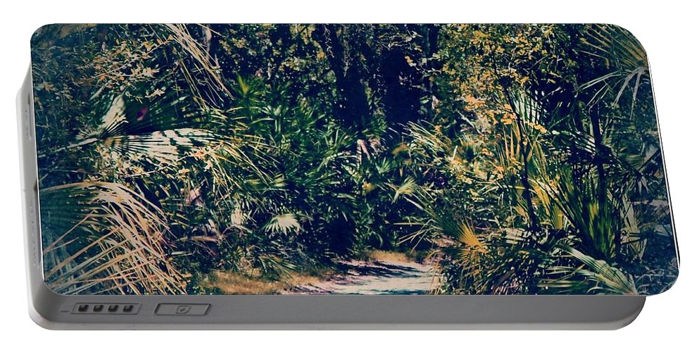 Shannon Portable Battery Charger featuring the photograph Foliage Pathway by Shannon Sears