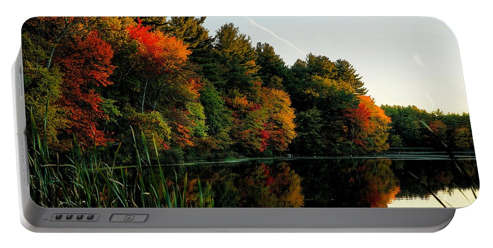 October Portable Battery Charger featuring the photograph Foliage Reflections by Lilia D