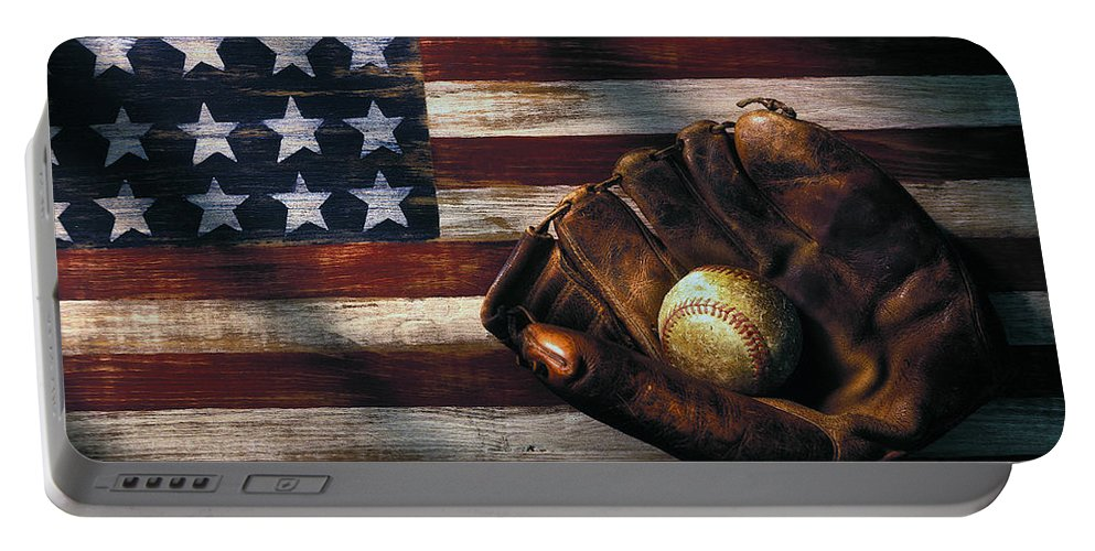 Folk Art American Flag Portable Battery Charger featuring the photograph Folk art American flag and baseball mitt by Garry Gay