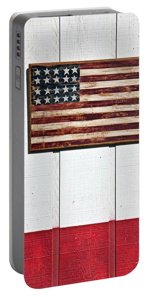Folk Art American Flag Wooden Wall Portable Battery Charger featuring the photograph Folk Art American Flag On Wooden Wall by Garry Gay