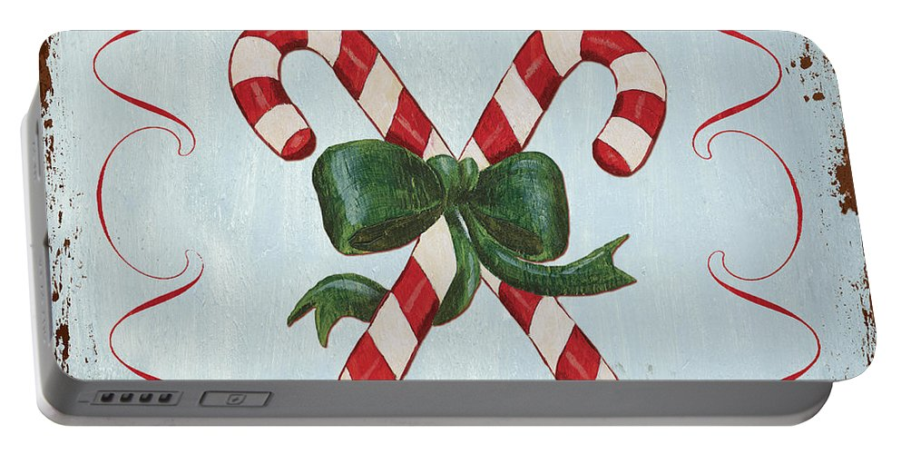 Candy Cane Portable Battery Charger featuring the painting Folk Candy Cane by Debbie DeWitt