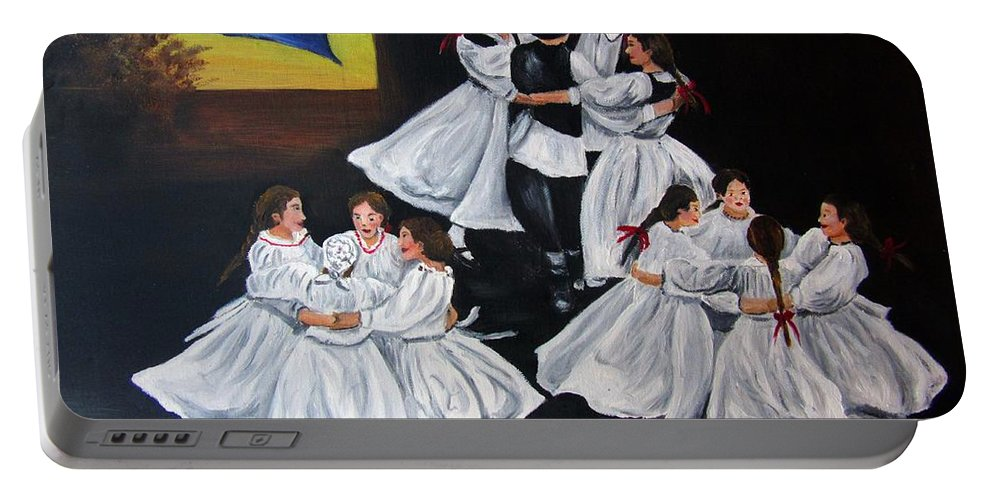 Dance Portable Battery Charger featuring the painting Folk Dancers by Vesna Martinjak