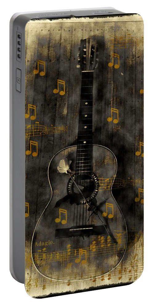 Guitar Portable Battery Charger featuring the photograph Folk Guitar by Bill Cannon
