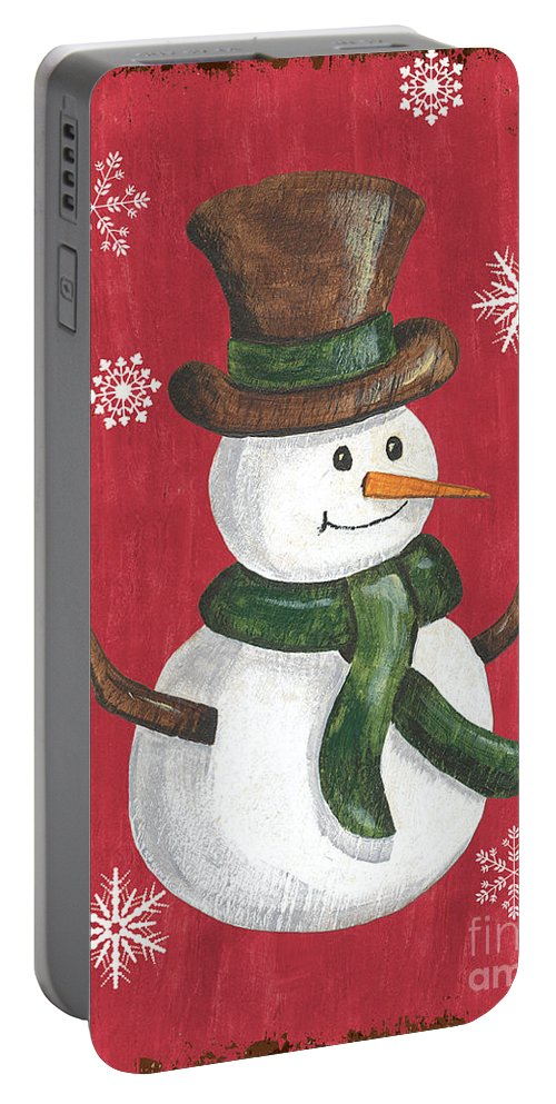 Snowman Portable Battery Charger featuring the painting Folk Snowman by Debbie DeWitt