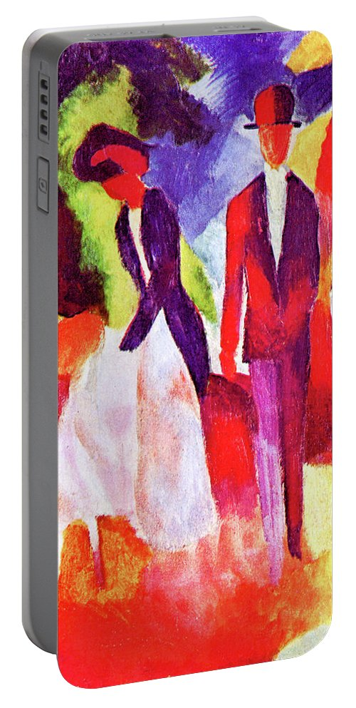 Folks Portable Battery Charger featuring the painting Folks At The Blue Sea By August Macke by August Macke