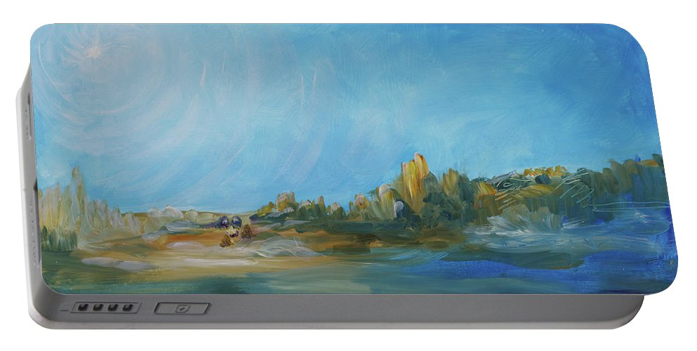 Landscape Portable Battery Charger featuring the painting Following Yonder Star by Kathleen Sandoval