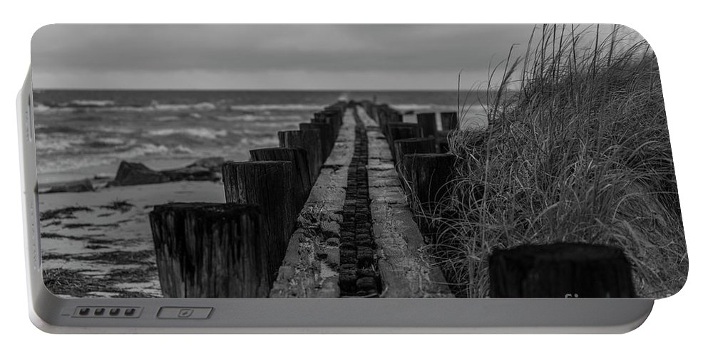 Folly Beach Portable Battery Charger featuring the photograph Folly Beach Anti Erosion Pier by Dale Powell