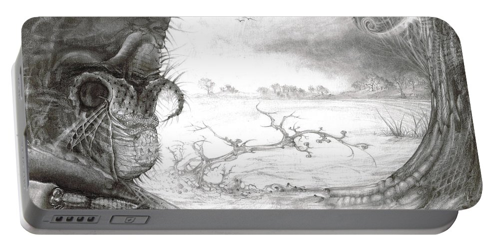 Fomorii Portable Battery Charger featuring the drawing Fomorii Swamp by Otto Rapp