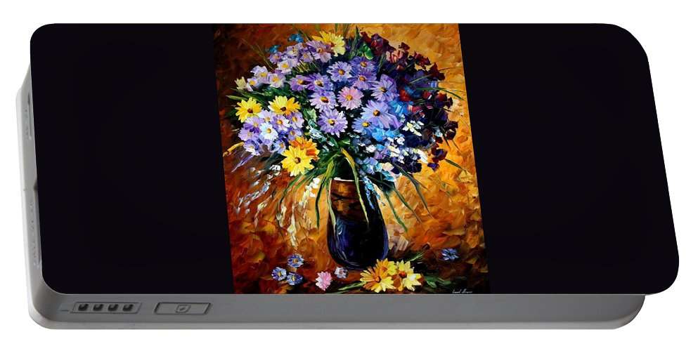 Afremov Portable Battery Charger featuring the painting Fondness by Leonid Afremov