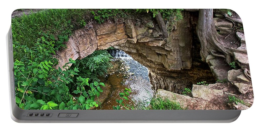 Fonferek Glen Portable Battery Charger featuring the photograph Fonferek Glen Rock Bridge And Falls by Timothy Ruf
