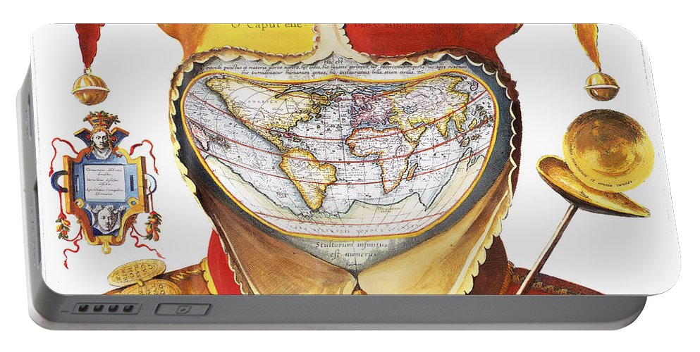 1590 Portable Battery Charger featuring the photograph Fools Cap World Map, C1590 by Granger